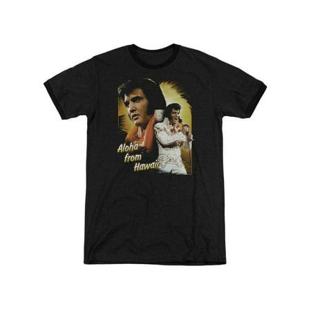 Elvis Presley Aloha From Hawaii Concert Legend Adult Ringer T-Shirt Tee (Stanford Halloween Concert)