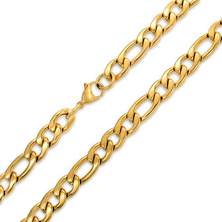 Mens Heavy Solid 11MM Gold Tone Stainless Steel Figaro Chain Necklace For Men For Teen 24 30 Inch (Solid Gold Figaro Chain For Men)