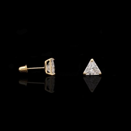 1ct Simulated Diamond Trillion Cut 14K Solid Yellow Gold Screw Back Stud Earrings (Topaz 14k Yellow Gold Slide)