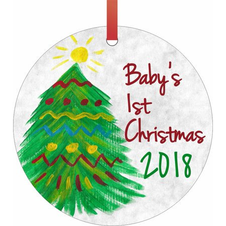 New Baby - Baby's First Christmas Ornament 2018 Watercolor Christmas Tree Round Shaped Flat Semigloss Aluminum Christmas Ornament Tree Decoration