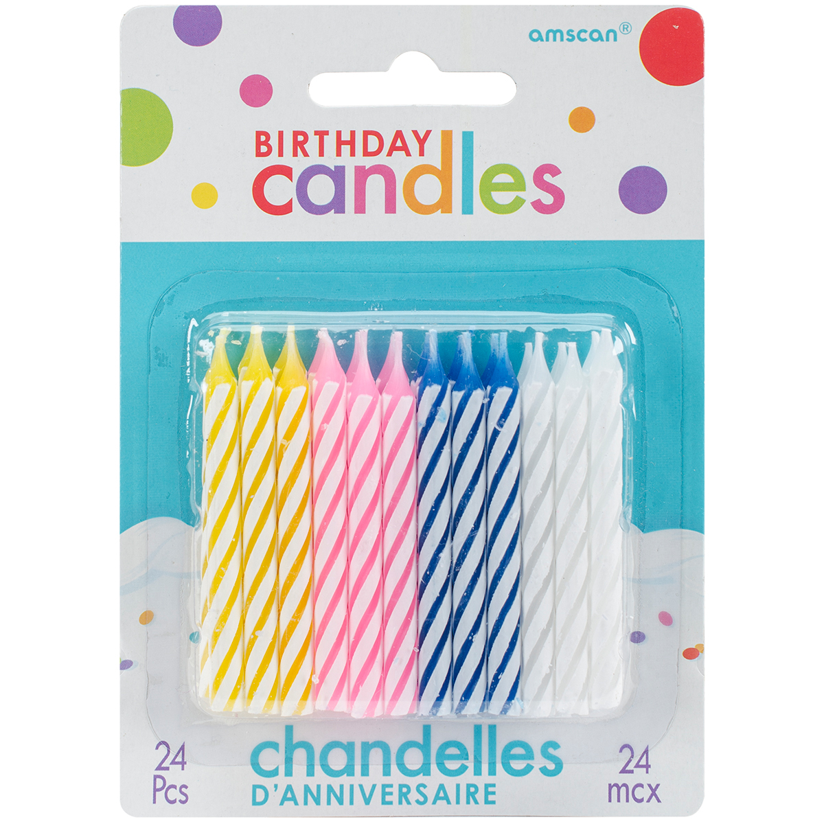 """Birthday Candles 2.5"""" 24/Pkg-Assorted Color Spirals - image 1 of 1"""
