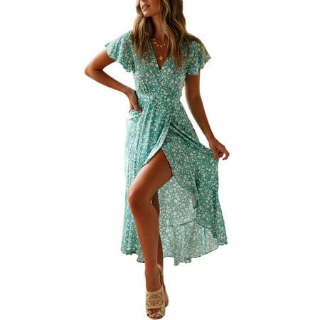 f7d9ce9f4b Sexy Dance - Boho Beach Floral Polka Dot Printed Maxi Dress For Women Casual  Ladies Wrap Summer Paisley Ruffled Irregular Strap Holiday Long Sundress ...