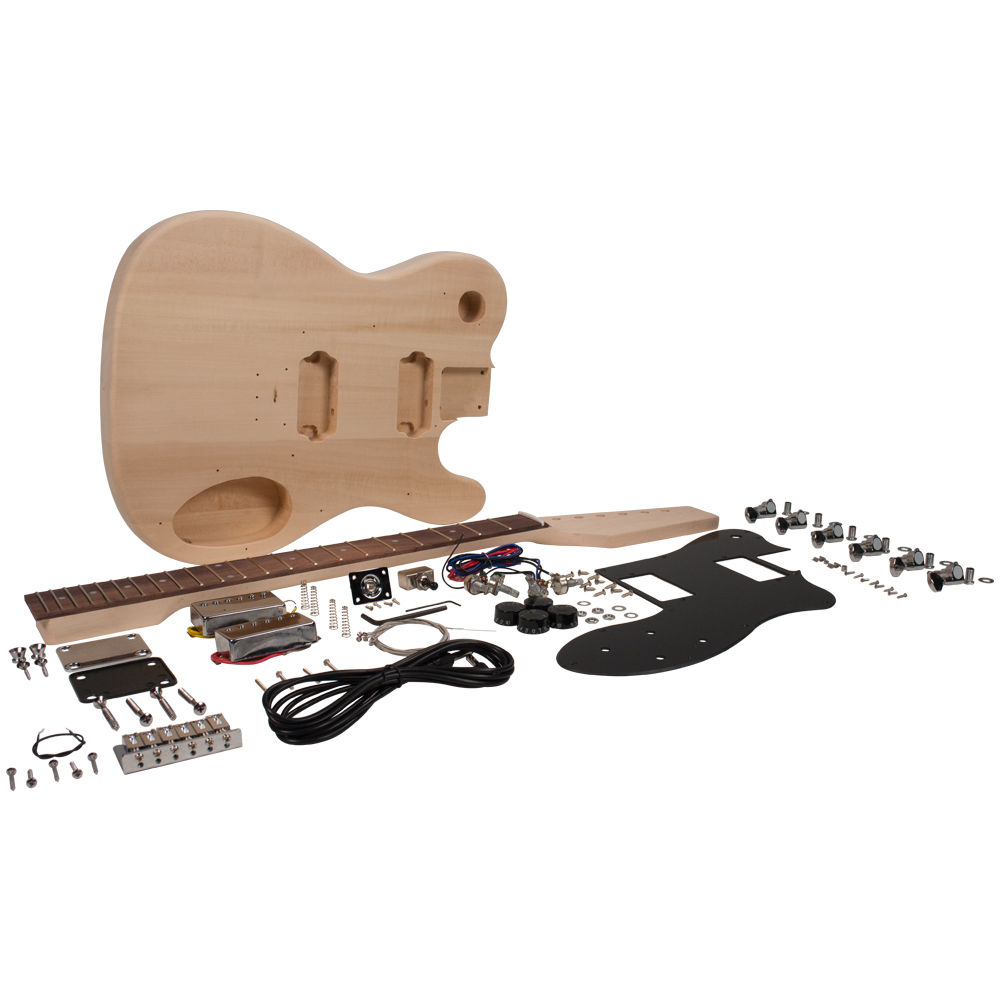 Seismic Audio Premium DIY Tele Style Electric Guitar Kit - Dual Humbuckers Luthier Project Kit - SADIYG-04