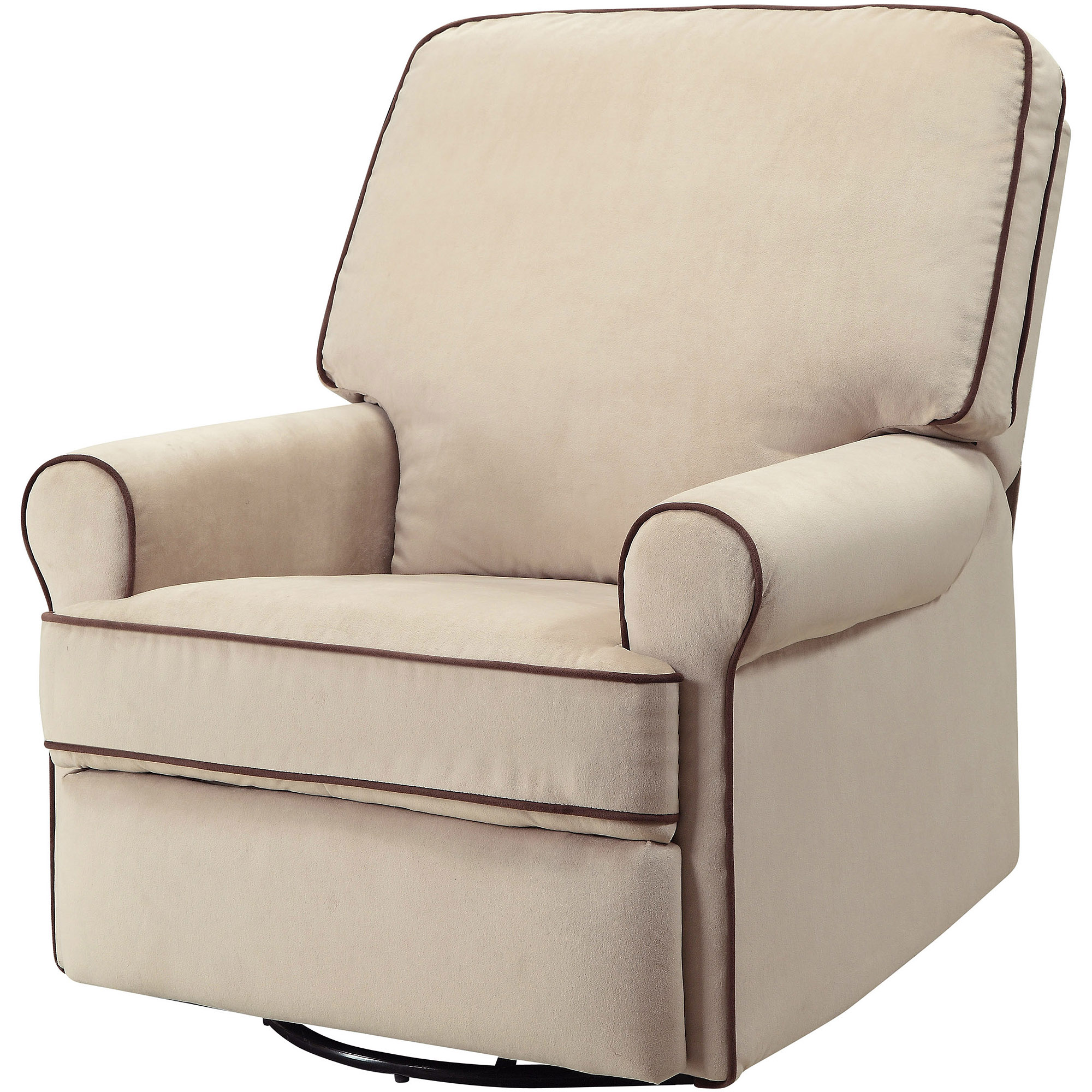home meridian birch hill swivel glider recliner stella contrast piping beige