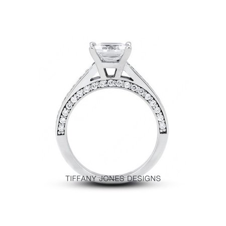 1.50ct tw I-VS2 Exc-Cut Princess AGI Natural Diamonds 14k Cathedral Ring 5.3gram