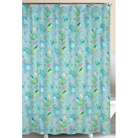 Laguna Breeze Shells And Coral Blue And Green Cotton Shower Curtain