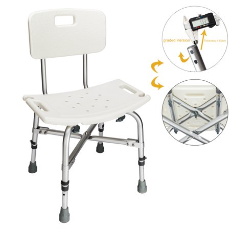 Zimtown 450LBS Heavy Duty Medical Shower Chair Bath Seat, 6 Height Transfer Bench Stool with Back (Shower Seat Height)