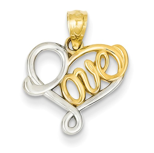 14K Yellow Gold and Rhodium Love Heart Pendant