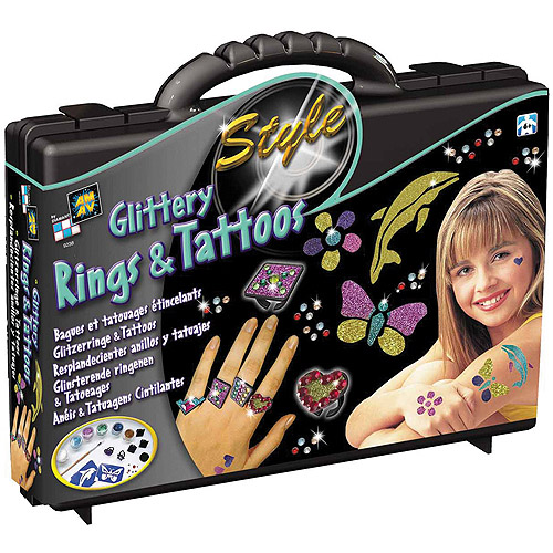 AMAV Glittery Rings And Tattoos Kit
