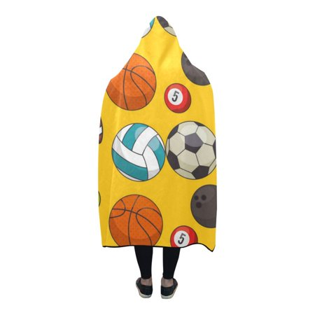 HATIART Hooded Blanket Woods Ball Sport Design Wearable Blanket Comfotable Hooded Throw Wrap Robe 56x80 Inch - image 2 of 3