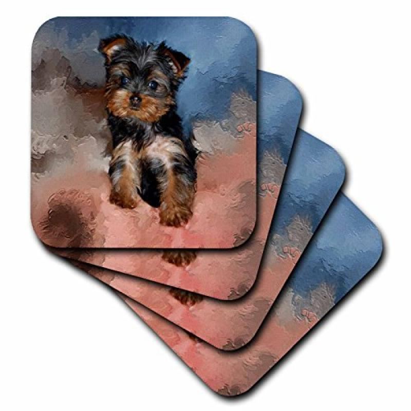 3dRose cst_3868_3 Toy Yorkie Puppy Ceramic Tile Coasters,...