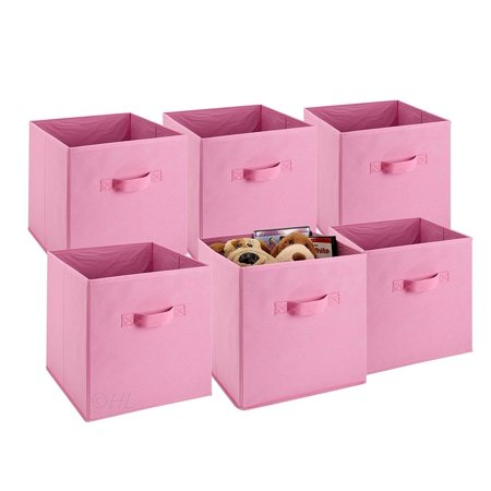 YOSOO Foldable Square Canvas Household Organizer Fabric Cube Bin Basket Container Drawer Collapsible Fabric Cubes 6 Pcs