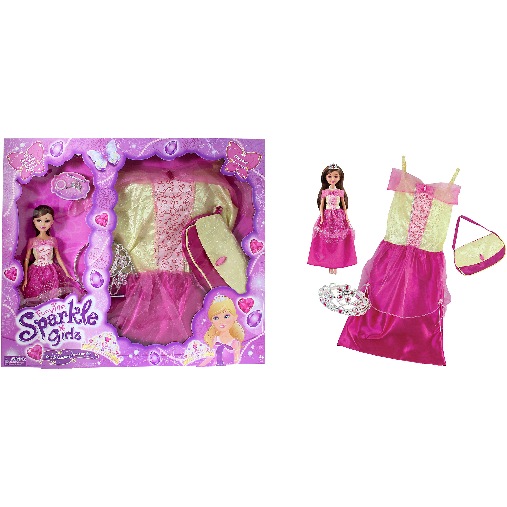 Funville sparkle girlz doll with dress up, princess, brown hair