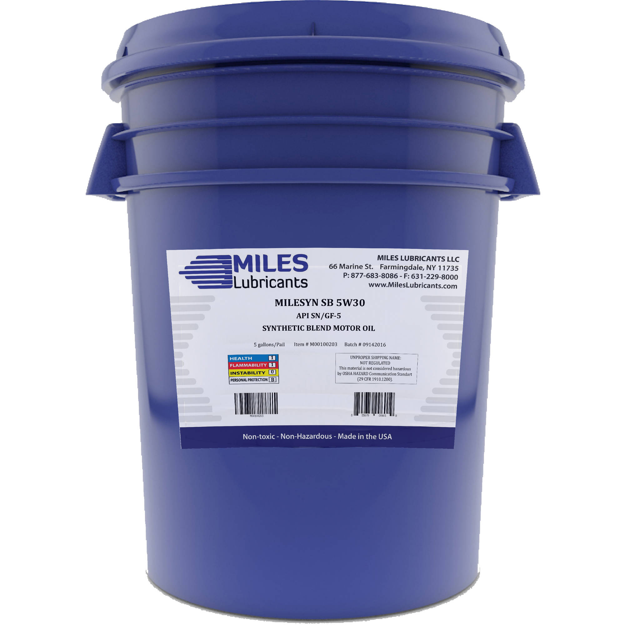 Milesyn SB 5W30 API GF-5/SN, Synthetic Blend Motor Oil, 5-Gallon Pail