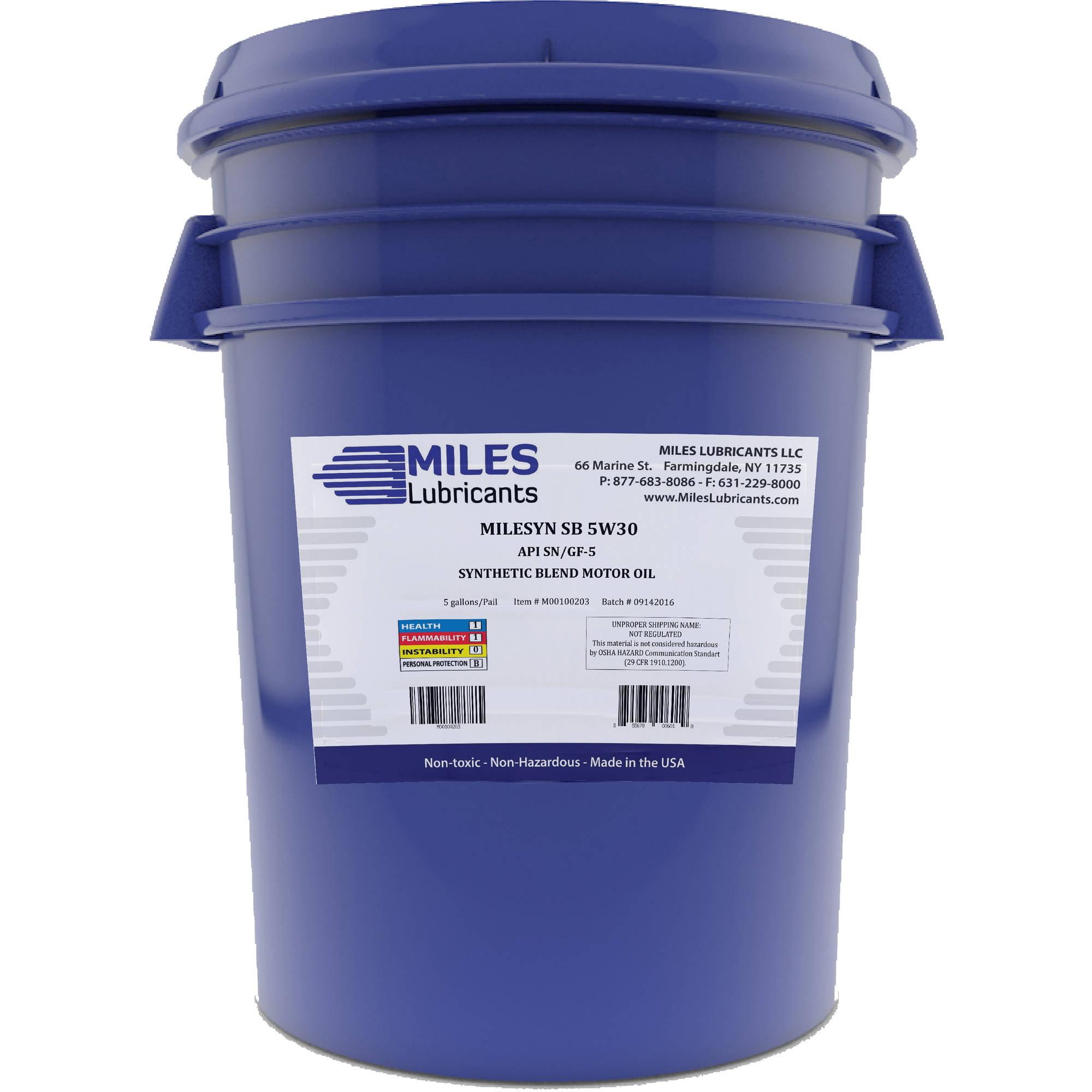 Milesyn SB 5W30 API GF-5/SN, Synthetic Blend Motor Oil, 5-Gallon Pail