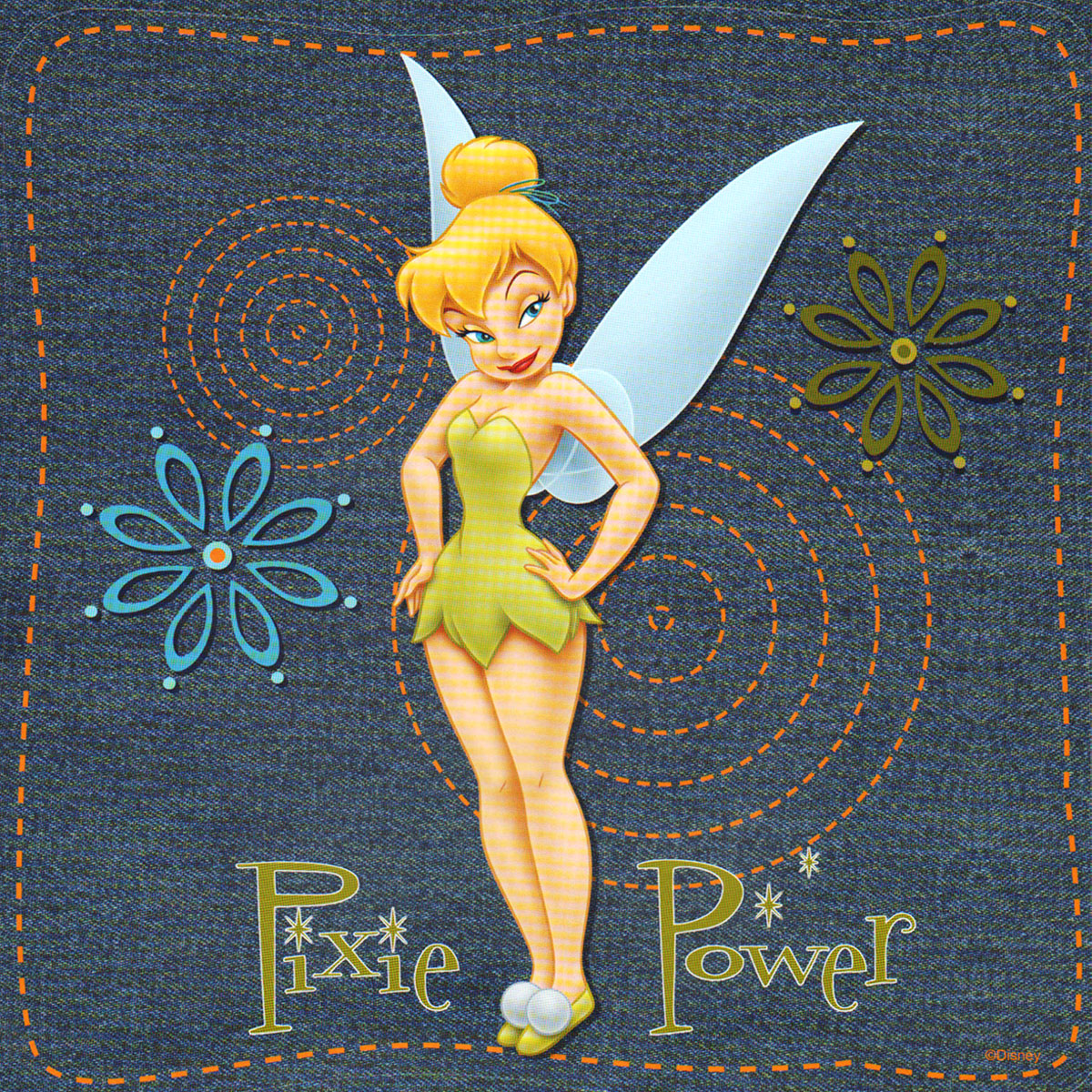 Tinkerbell Denim Self-Stick 37pc Wall Sticker Accent Kit