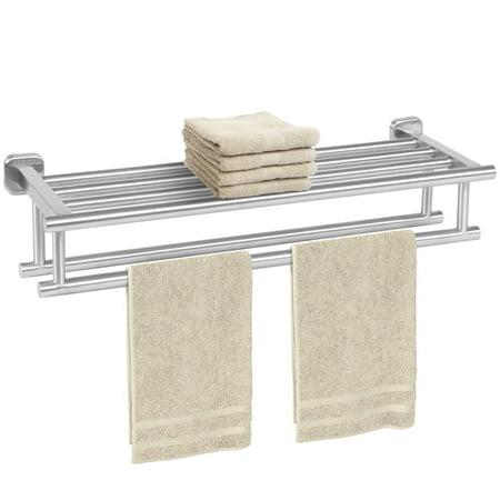 Stainless Steel Double Towel Rack Wall Mount Bathroom Shelf Bar Rail ...