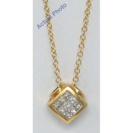 18k Yellow Gold Princess Invisible Setting diagonal square contemporary diamond pendant (0.47 Ct, H , VS )