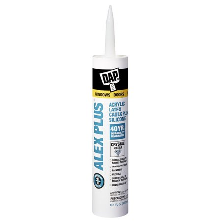- DAP Alex Plus 10.1 oz. Clear Acrylic Latex Caulk Plus Silicone