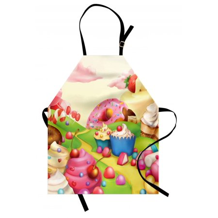 Modern Apron Yummy Donuts Sweet Land Cupcakes Ice Cream Cotton Candy Clouds Kids Nursery Design, Unisex Kitchen Bib Apron with Adjustable Neck for Cooking Baking Gardening, Multicolor, by Ambesonne