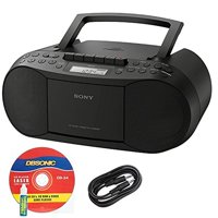 Sony CFD-S70 Portable CD/Cassette Boombox with Radio (Black) + Accesory Bundle