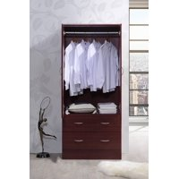 Hodedah Two Door Wardrobe with Two Drawers and Hanging Rod, Multiple Colors