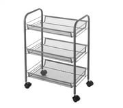 Suprima 3 Tier Mesh Basket Shelving (Wheels) - Gray