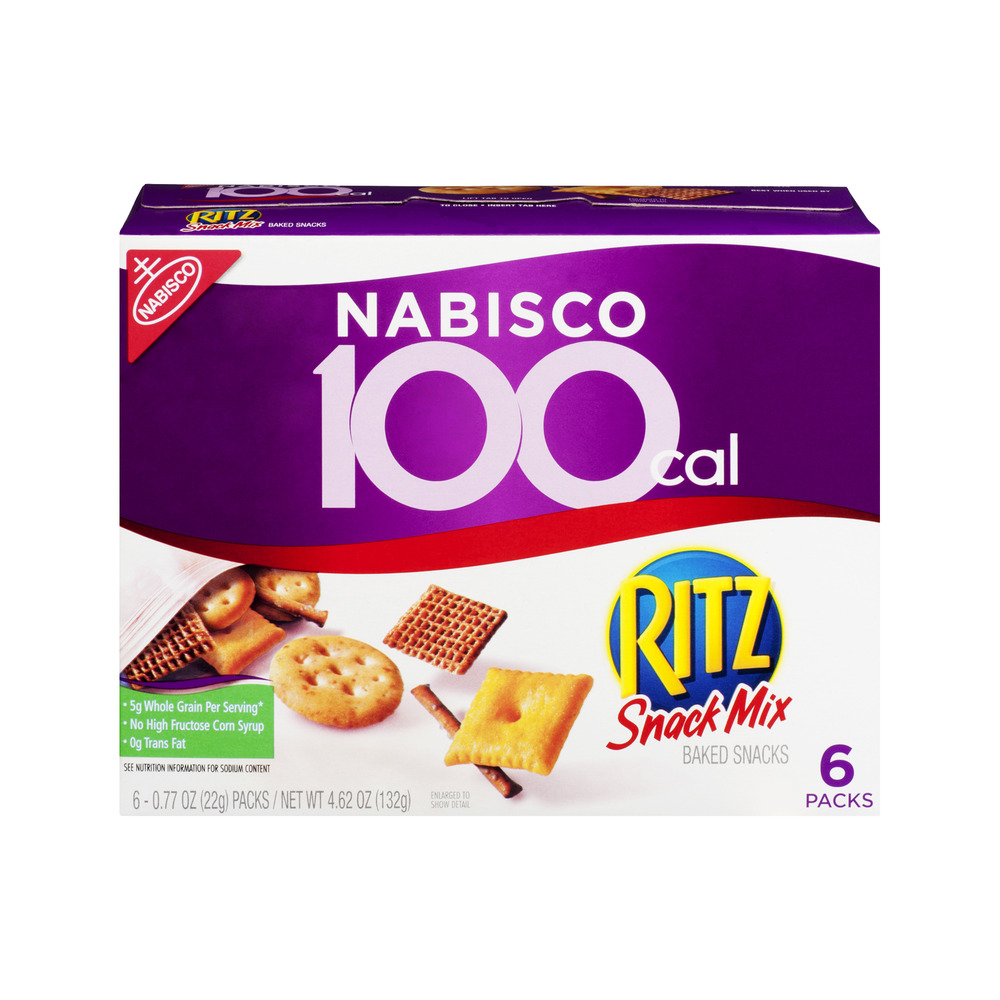 Nabisco 100 Cal Ritz Snack Mix Baked Snacks - 6 PK, 4.62 OZ