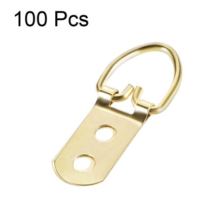 D Ring Picture Hangers, 54mmx22mm Golden Assortment Kit for Photo Hanging 100pcs - image 1 of 3