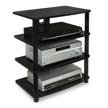 Mount It  Media Stand Entertainment Center For Tv  Audio Video Components  Stereo Equipment  Gaming Consoles  Streaming Devices  4 Shelves  Black