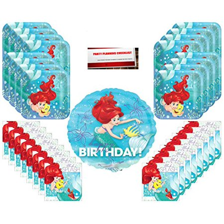 Ariel Disney Princess Party Supplies Bundle Pack for 16 (17 Inch Balloon Plus Party Planning Checklist by Mikes Super Store) - Cheap Party Supply Stores