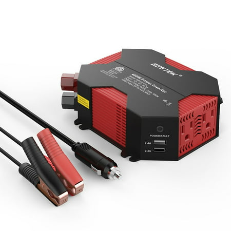 BESTEK MRI4011IU Black-Red 400W Power Inverter DC 12V to AC 110V Car Adapter with 5A 4 USB Charging Ports ()