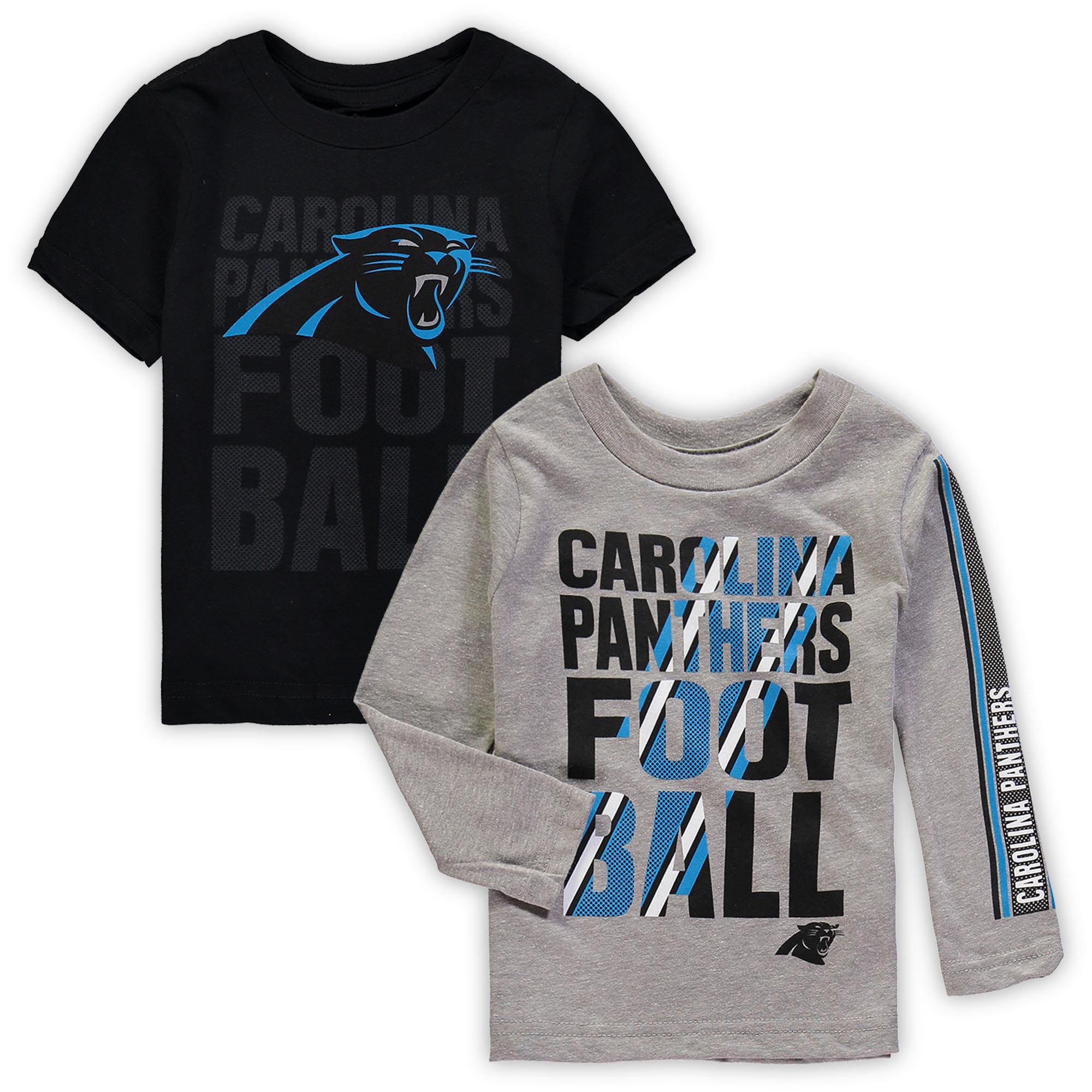 Carolina Panthers Toddler Two-Pack Playmaker Long Sleeve & Short Sleeve T-Shirt Combo - Black/Gray
