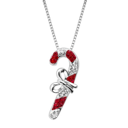 Candy Cane Pendant Necklace with Swarovski Crystals in Sterling Silver (Chanel Candy Necklace)