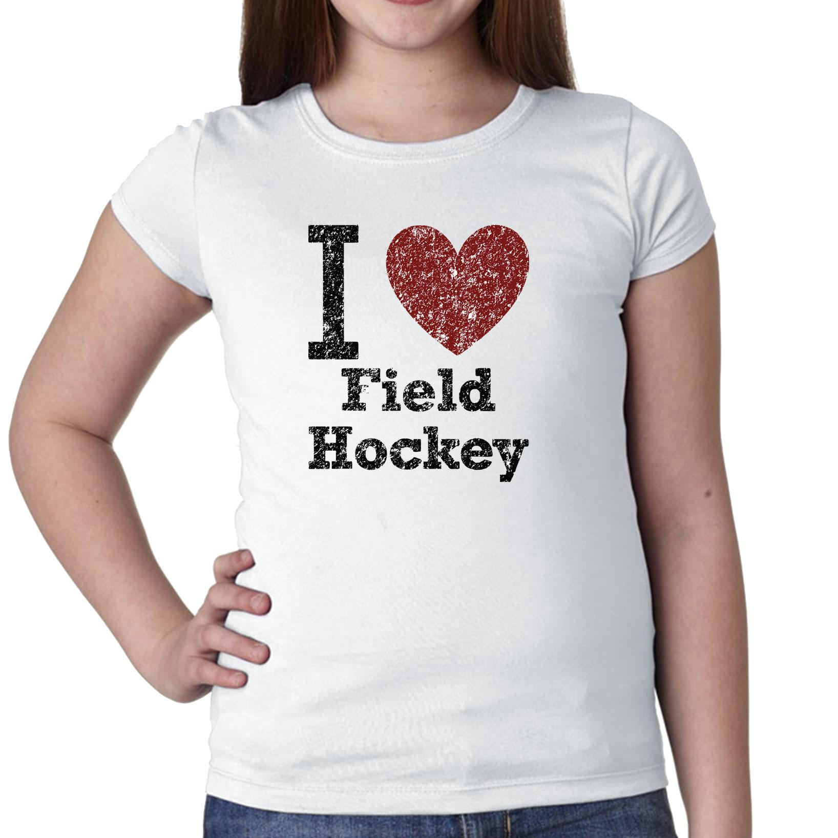 I Love Field Hockey With Big Red Heart Classic Graphic Girl's Cotton Youth T-Shirt by Hollywood Thread