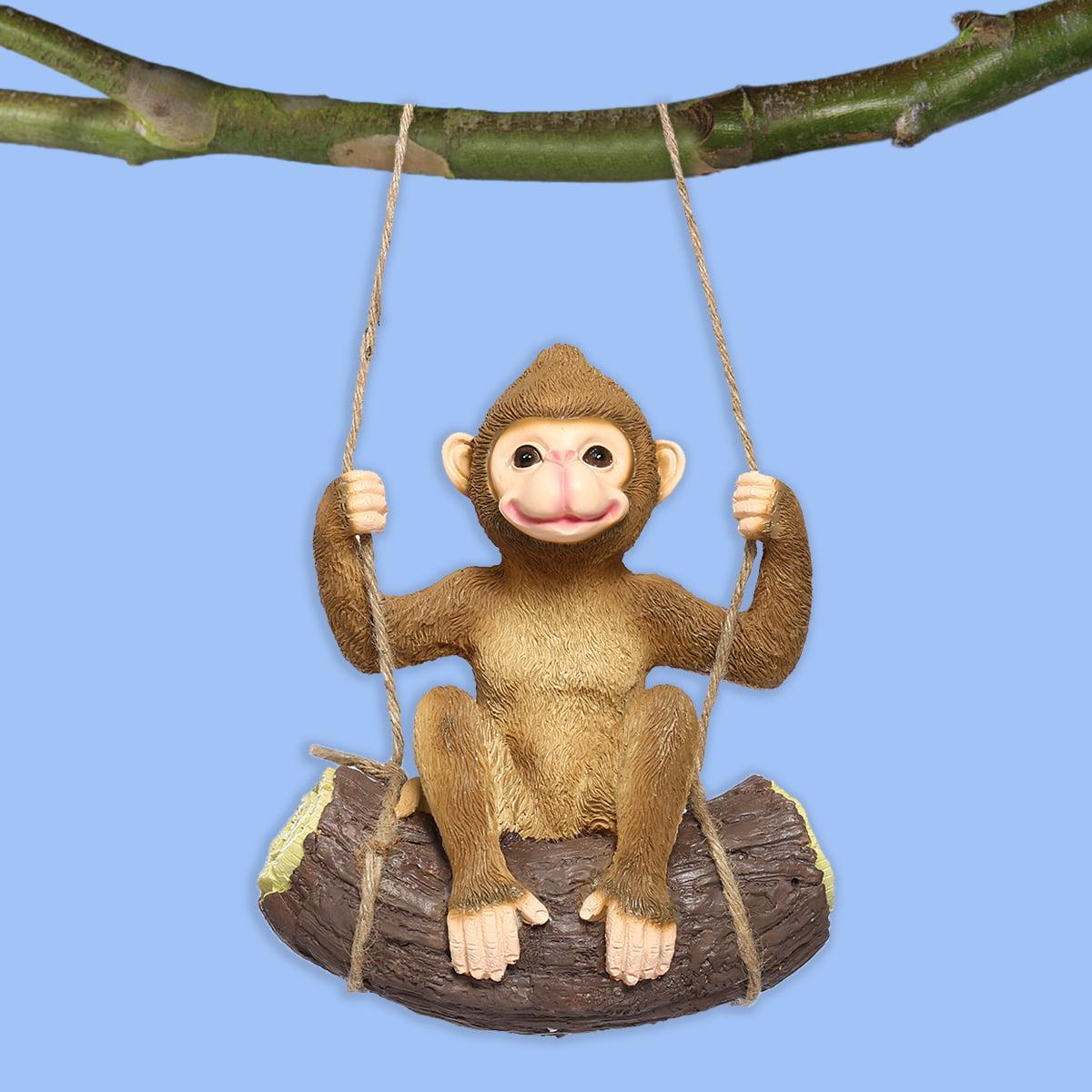 Mischievous Climbing Baby Chimp Monkey Sculpture Garden Statue