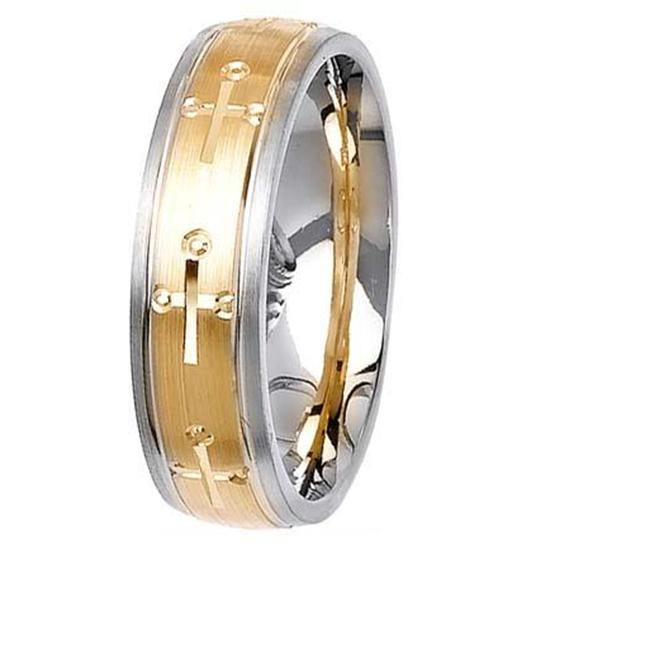L. A.  Wedding 14KLAW1034-S6. 5 6mm 14K Two Tone Wedding Ring - Size 6. 5