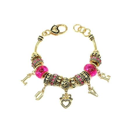 Gold Tone Valentine's Day Cute Girls Bead Charm 7.5