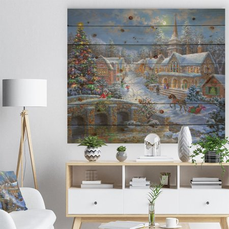DESIGN ART Designart 'Christmas Paradise with church snow and open sleigh' Print on Natural Pine Wood -