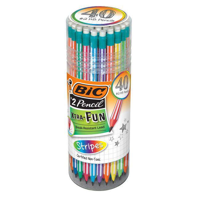 BIC Xtra Fun Stripes Graphite Pencil, #2 HB, 40 Count