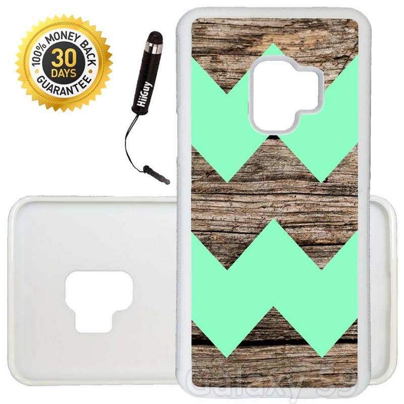 Custom Galaxy S9 Case (Wood Design With Mint Colored Chevron) Edge-to-Edge Rubber White Cover Ultra Slim | Lightweight | Includes Stylus Pen by Innosub