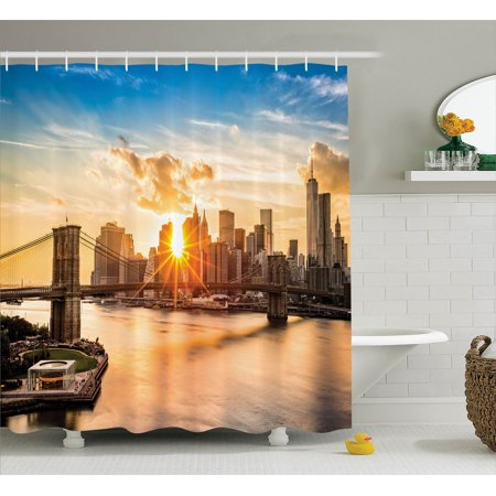 Nyc Decor  Cityscape Of Brooklyn Bridge And Lower Manhattan Hudson River Center Of Fashion Art And Culture, Bathroom Accessories, 69W X 84L Inches Extra Long, By Ambesonne
