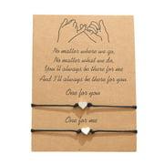 2Pcs Star Heart Beads Promise Distance Matching Bracelets For Best Friends Couple Family Women Men Teen Girls