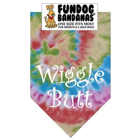 Fun Dog Bandana - Wiggle Butt - One Size Fits Most for Med to Lg Dogs, tie dye pet (Tie Bandana Dog)