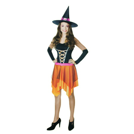 Teen Witch Costume Orange and Black 1-3 (Orange Witch Costume)