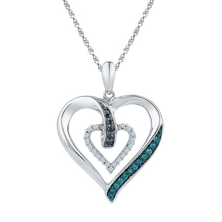 Blue diamond heart pendant 10k white gold love hearts charm fashion blue diamond heart pendant 10k white gold love hearts charm fashion style polished fancy 1 mozeypictures Image collections