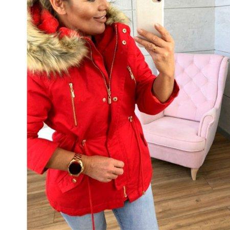 Fur Hooded Women Winter Elastic Waist Cotton Coat Casual Jacket