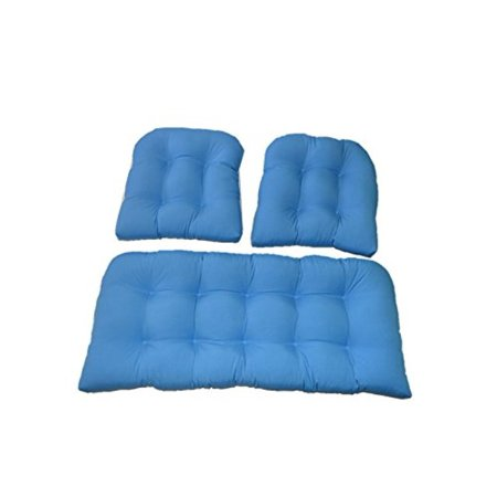 3 Piece Wicker Cushion Set (Loveseat Settee & 2 Chair Cushions) Solid Pool Blue