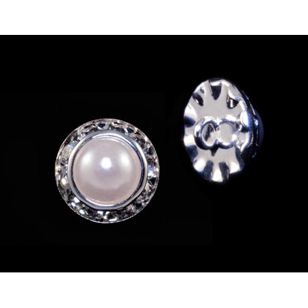 13mm Rondel Button with Imitation Pearl Center - 11789/13mm