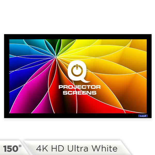 QualGear QG-PS-FF6-169-150-W 16:9 Fixed Frame Projector Screen, 150-Inch 4k HD Ultra White 1.2 Gain by QualGear LLC